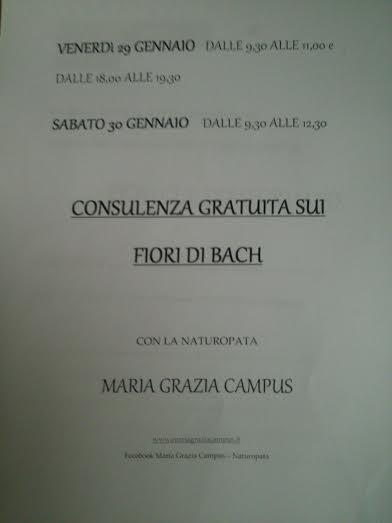 GIORNATA FIORI DI BACH CON LA NATUROPATA MARIA GRAZIA CAMPUS